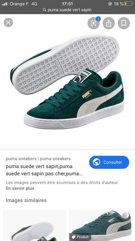 Puma Suede vert sapin