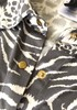 New BCBG Animal Print Button Up Collared Blouse 14