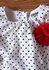 Girl's Size NB Newborn 3 Pc Osh Kosh Cream Polka Dot Rose Top, Red Pants & HB 6